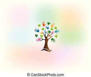 Tree hands lieben Herzenslogo.