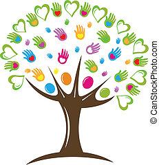 Tree hearts and hands symbol logo.