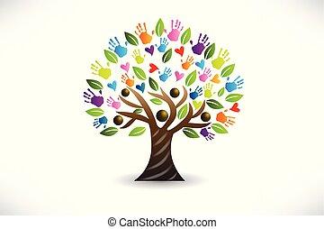 Tree Herzen und Hände Logo Vektor.