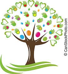 Tree Herzen und Hände Logo.