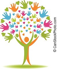 Tree Logo Hand und Herzfiguren.
