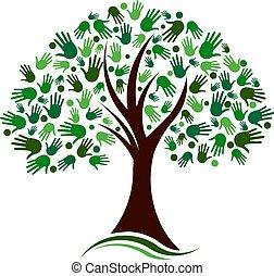 Tree mit den Händen Social Network Vektorlogo.
