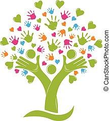 Tree mit Händen und Herzen Familienfiguren Logo.