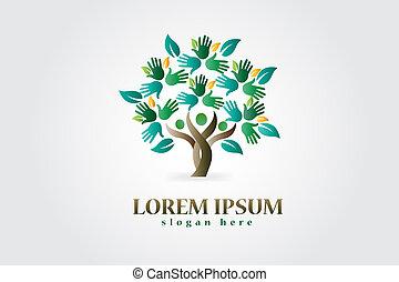 Tree mit Händen und Herzfiguren Logo.