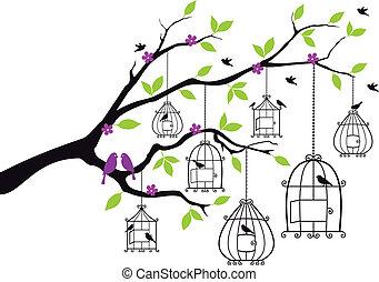 Tree mit offenen Vogelkäfern, Vektor.