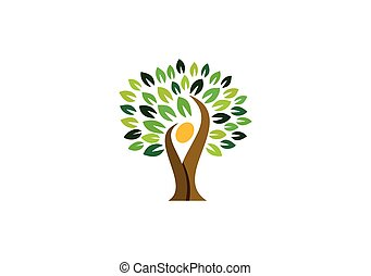 Tree people logo,tree Wellness Icon.