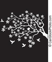Tree Silhouette mit Vogelfliegen.
