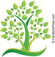 Tree teamwork people symbol logo.