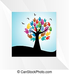 Tree with hands concept.