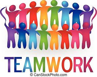Treffen Teamwork Menschen Logo Vektor.