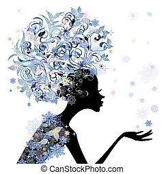 Trendy-Blumen-Frisur für dein Design