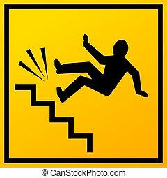 treppe, vektor, zeichen, herbst