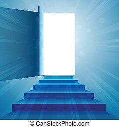 Treppe zur Tür.