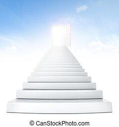Treppen, die zur Tür führen.