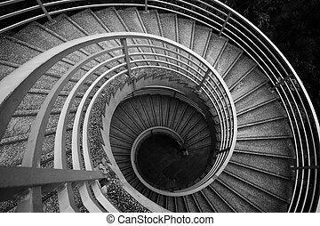 Treppen, schwarz-weiß