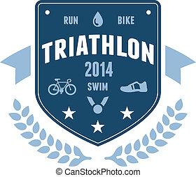 Triathlon-Abzeichen Emblem Design.