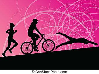 Triathlon-Marathon aktive junge Frauen schwimmen Rad-und laufen Sport Silhouetten Sammlung vektor abstrakten Hintergrund Illustration.