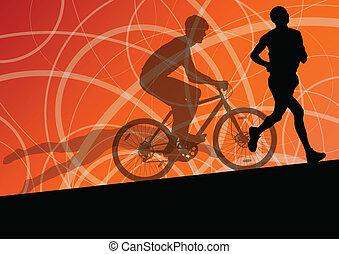 Triathlon-Marathon aktive junge Männer schwimmen Rad-und laufen Sport Silhouetten Sammlung vektor abstrakten Hintergrund Illustration.
