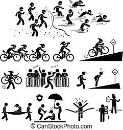 Triathlon Marathon Piktogramm.