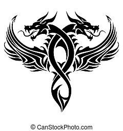 Tribal-Drachen-Tattoo.