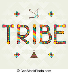 Tribe. Designwort mit Ornament.