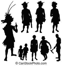 Tribe-Leute Vektor-Silhouette