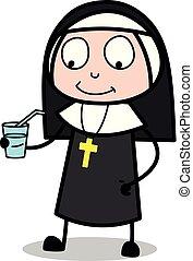 Trinken Wasser - Zeichentrick-Nonne-Vektorgrafik.