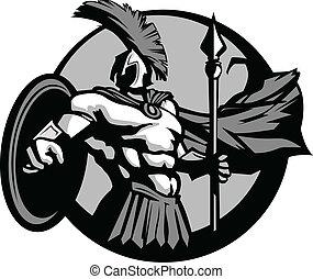 trojan, schutzschirm, speer, spartan, starke , oder, maskottchen