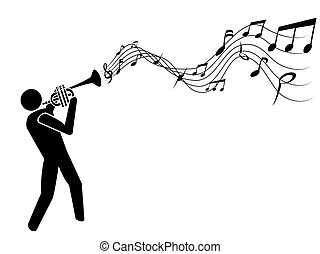 Trompete bläst Musiknotizen.