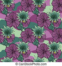Tropenblüten auf dem Tarnhintergrund. Vector nahtlos. Camo Blume tropische Illustration. Für Ihr Webdesign, Kleidung, Druck, Kleidung.