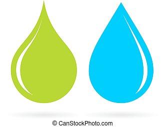 tropfen, grünes wasser, blaues
