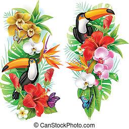 Tropische Blumen, Toucan und Schmetterlinge
