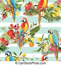 Tropische Früchte, Blumen und Papageienvögel nahtlos Hintergrund. Retro Sommermuster im Vektor