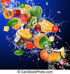 Tropische Früchte in Wasser.