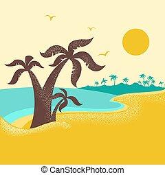 Tropische Insel mit Palmen .Vector Poster Natur Seelandschaft mit blauen Meerwellen