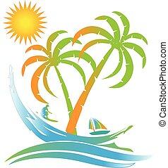 Tropische Insel sonniges Strandparadies Logo.