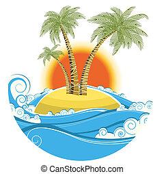 Tropische Insel. Vector-Farbessymbol Meeresscape mit sonnigem Hintergrund
