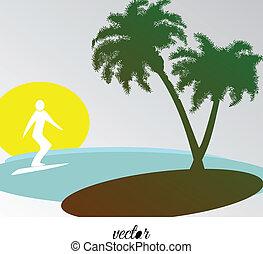 Tropische Landschaft mit Surfer.