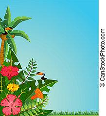 Tropische Pflanzen und Papageien.