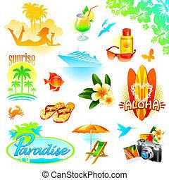 Tropische Resort, Reisen und exotische Ferienvektoren