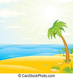 Tropischer Inselstrand. Vektor Illustration