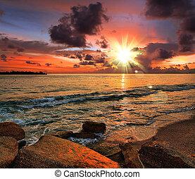 Tropischer Sonnenuntergang am Strand