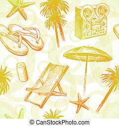 Tropischer Strandort - Vektor nahtloser Hand, Hintergrund
