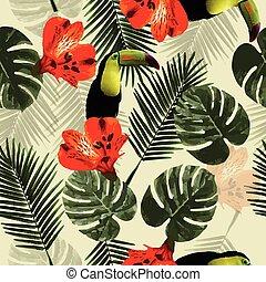 Tropisches, nahtloses Muster mit toucan Papagei, Blumen und Palmblättern.