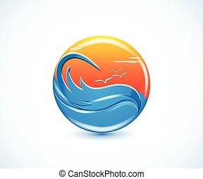 tropisches paradies, sandstrand, sommer, sonnig, logo