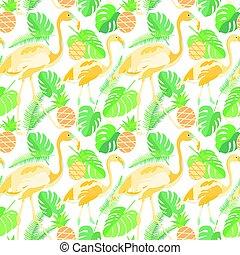 Tropisches trendiges, nahtloses Muster mit Flamingos, Ananas und Palmblättern.