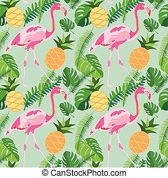 Tropisches trendiges, nahtloses Muster mit rosa Flamingos, Ananas und Palmblättern.