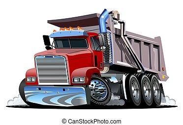 truck., karikatur, vektor, müllkippe