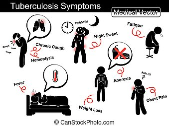 Tuberculosis Symptome ( Chronic husten , Hemoptysis , Nachtschweiß , Fatique , Fieber , Gewichtsverlust , Anorexia , Brustschmerzen usw.)