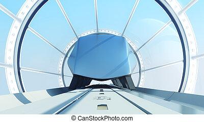 tunnel., übertragung, zug, einschienenbahn, zukunftsidee, 3d